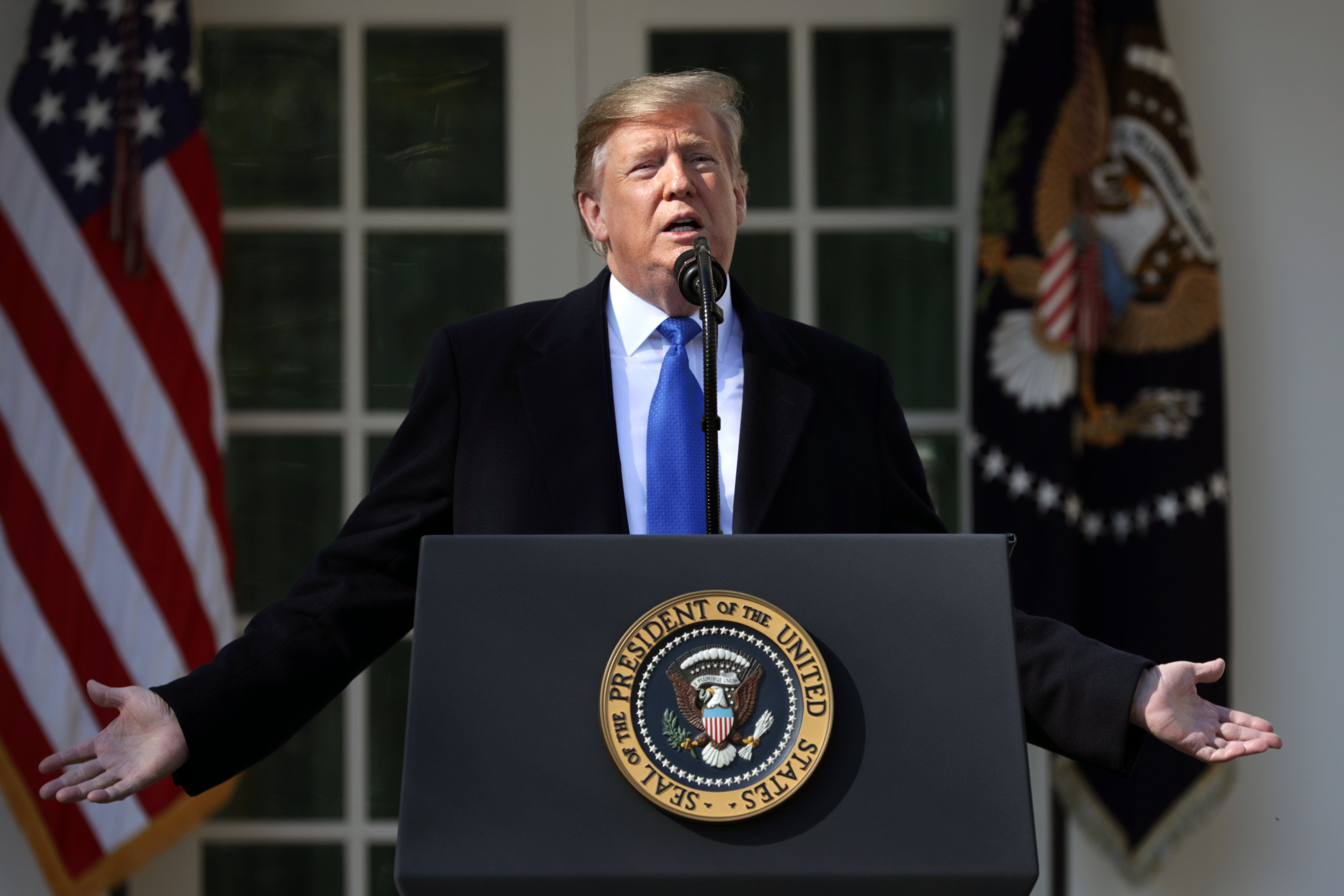 President Donald Trump delivering his National Emergency declaration speech at the White House | Photo: Getty Images