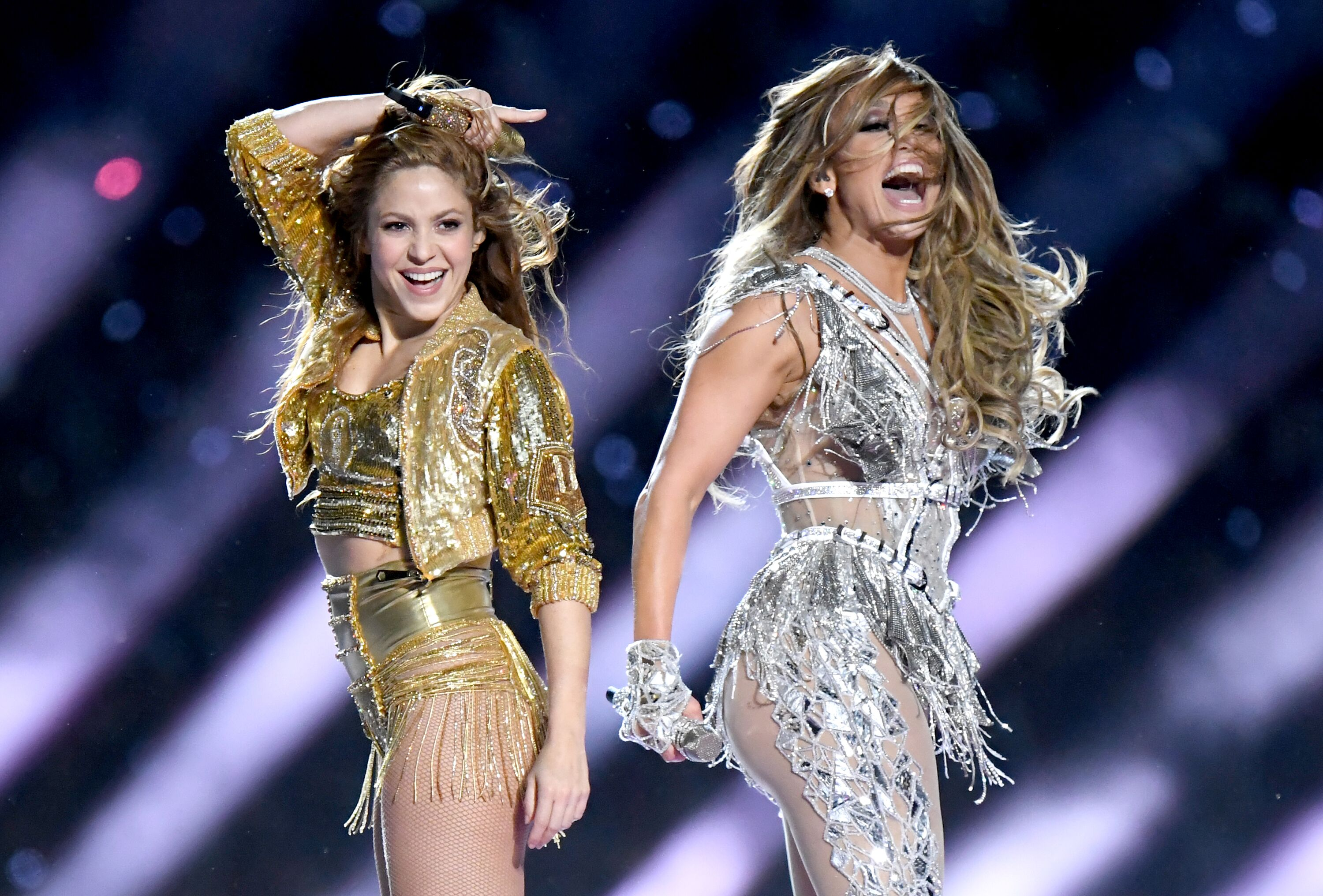 Shakira and Jennifer Lopez perform onstage during the Pepsi Super Bowl LIV Halftime Show at Hard Rock Stadium on February 02, 2020, in Miami, Florida | Photo: Jeff Kravitz/Getty Images