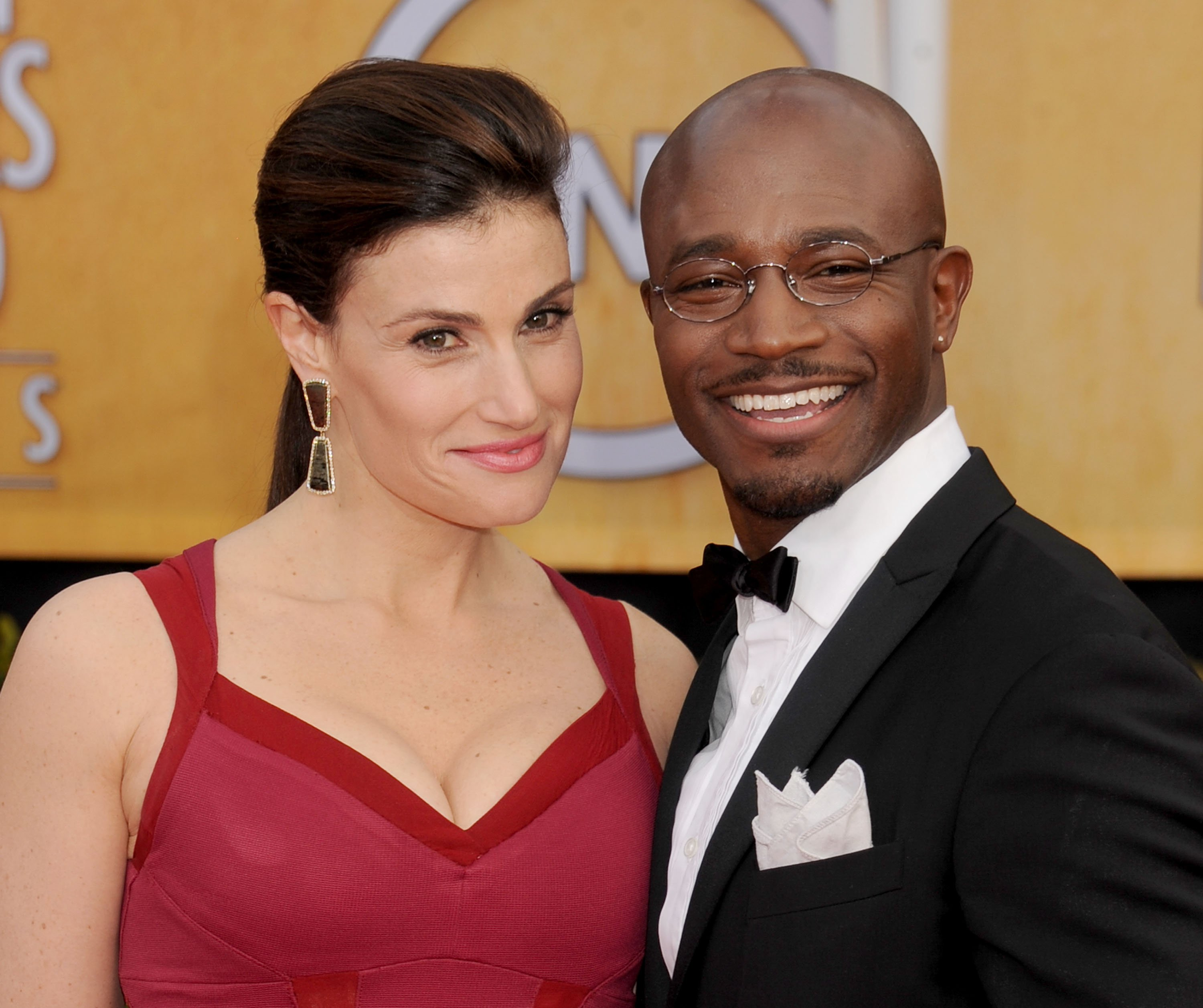 Idina Menzel and Taye Diggs arrive at the 19th Annual Screen Actors Guild Awards at The Shrine Auditorium on January 27, 2013 in Los Angeles, California   Photo: Getty Images