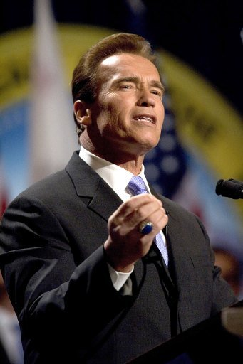 Arnold Schwarzenegger speaking while being sworn into office for a second term as Governor on January 5, 2007. | Source: Getty Images