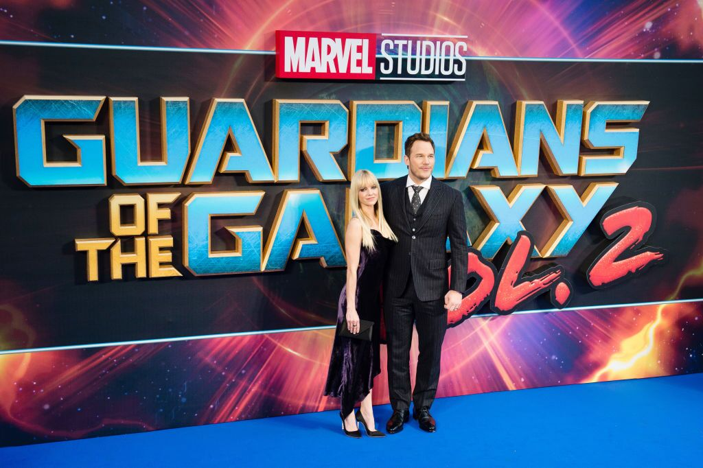 """Anna Faris and Chris Pratt at the European Gala Screening of """"Guardians of the Galaxy Vol. 2"""" in 2017 in London   Source: Getty Images"""