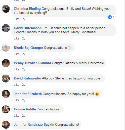 Comments from Smith's Facebook announcement | https://www.facebook.com/emily.smith.52056223/posts/10154241613292081