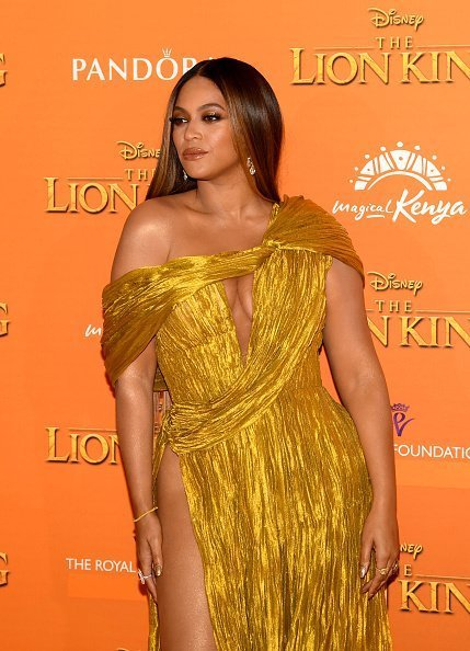 "Beyonce Knowles-Carter attends the European Premiere of Disney's ""The Lion King"" at Odeon Luxe Leicester Square on July 14, 2019 in London, England 