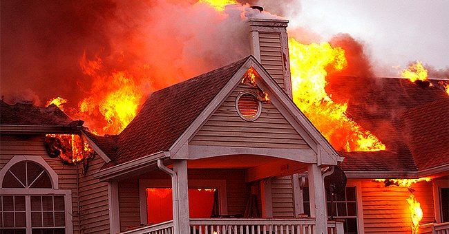 The neighbor's house up the road went up in flames!   Photo: Shutterstock