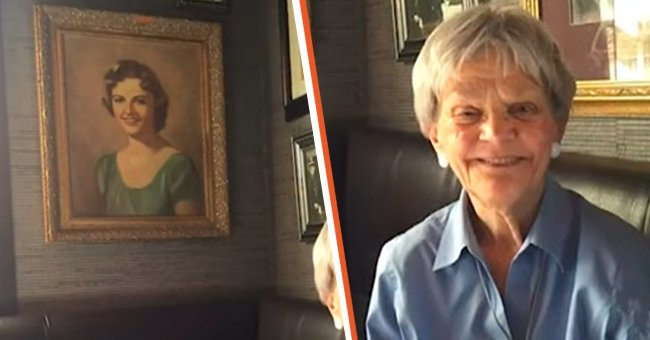 Betsy Daniels was reunited with her teenage self-portrait after her daughter spotted it in a bar in Dallas.   Photo: youtube.com/CBSDFW