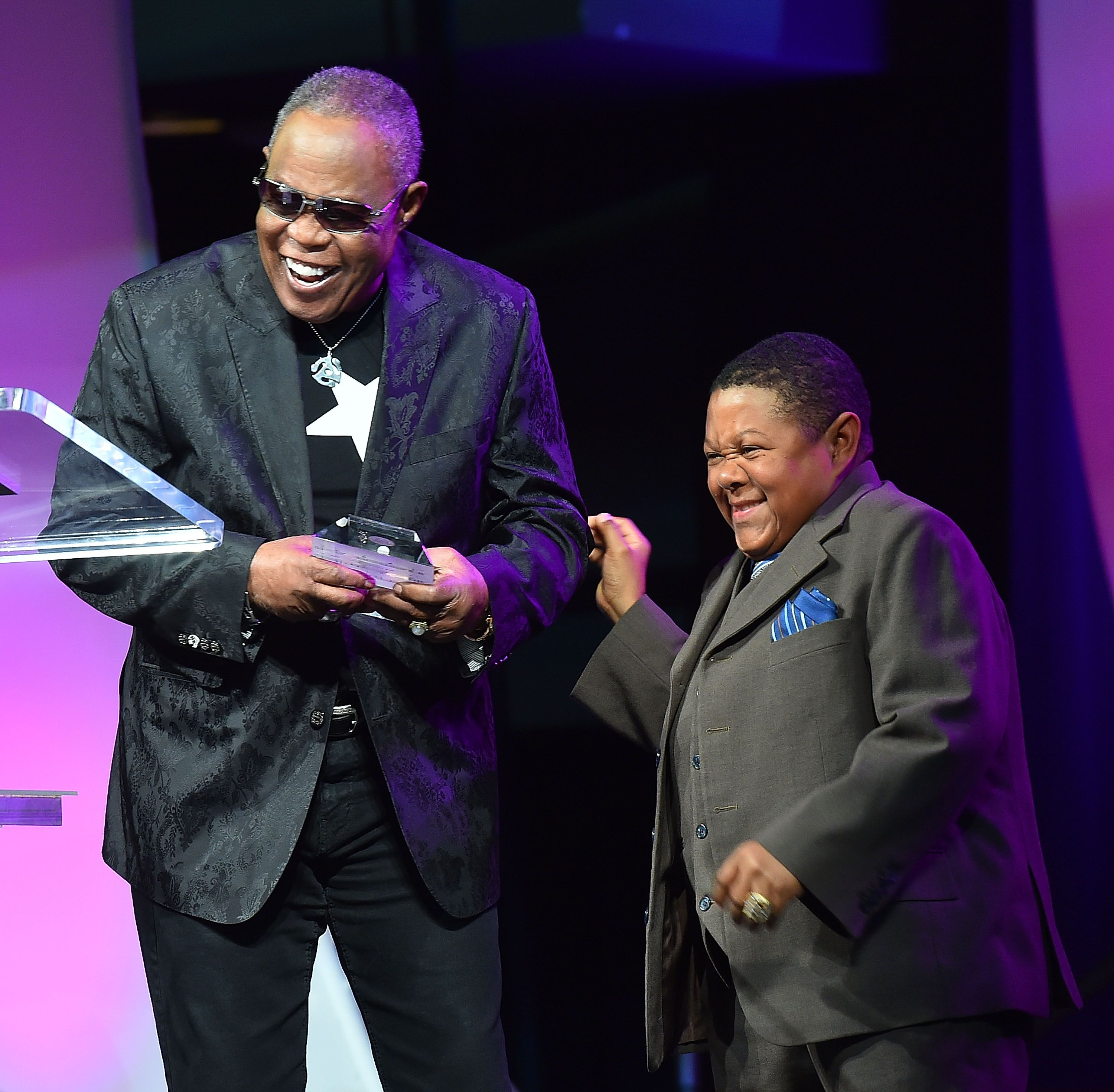 Sam Moore and actor Emmanuel Lewis onstage at Georgia Music Hall Of Fame Awards. | Source: Getty Images