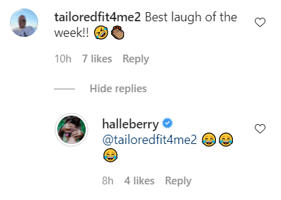 A fan's comment and Halle Berry's reply on her post of elves on a shelf | Photo: Instagram/Halleberry