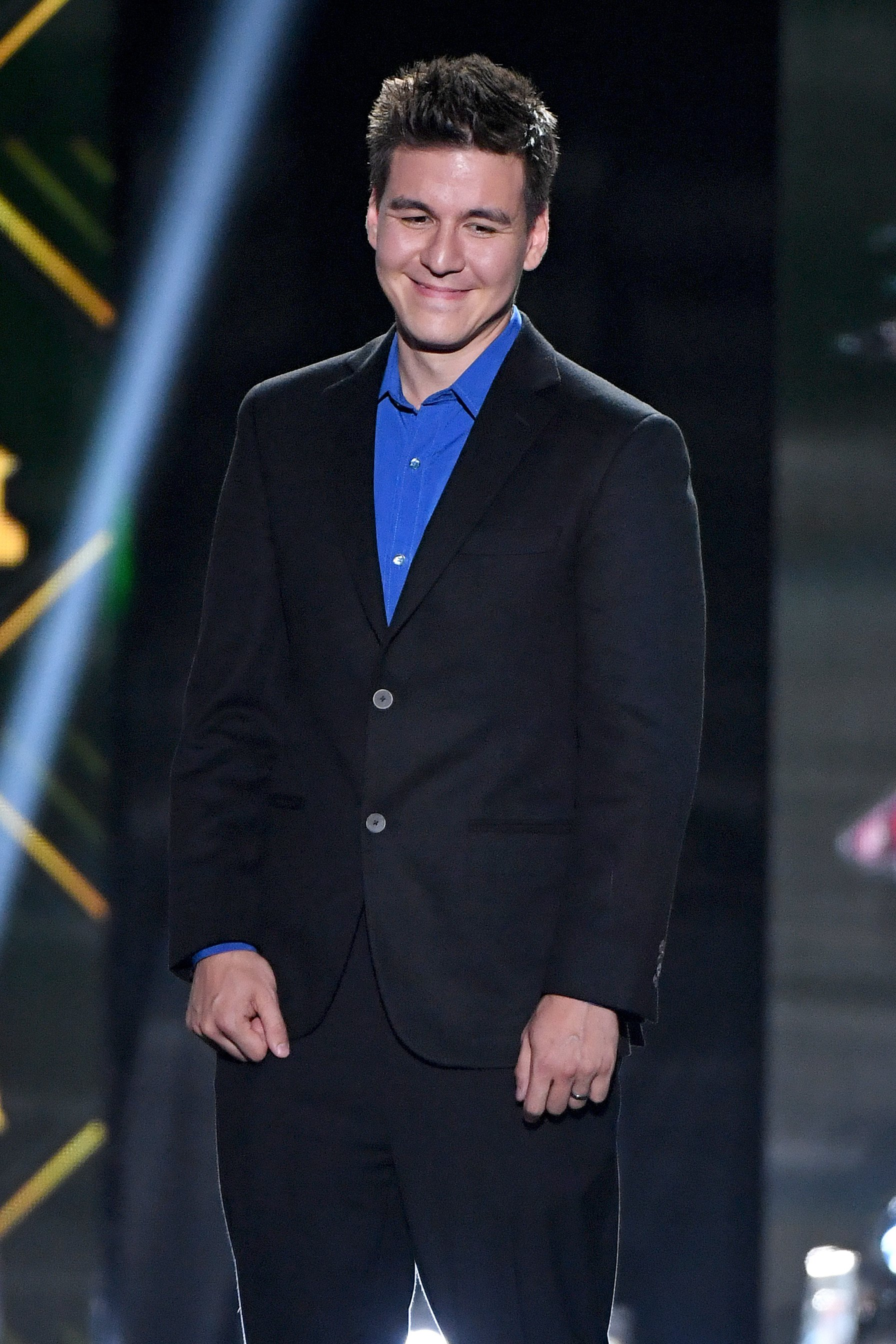 """""""Jeopardy!"""" champion James Holzhauer presents the Frank J. Selke Trophy during the 2019 NHL Awards at the Mandalay Bay Events Center on June 19, 2019 in Las Vegas, Nevada 