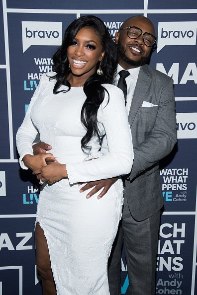 "Porsha Williams and Dennis McKinley during an appearance on ""Watch What Happens Live with Andy Cohen"" 