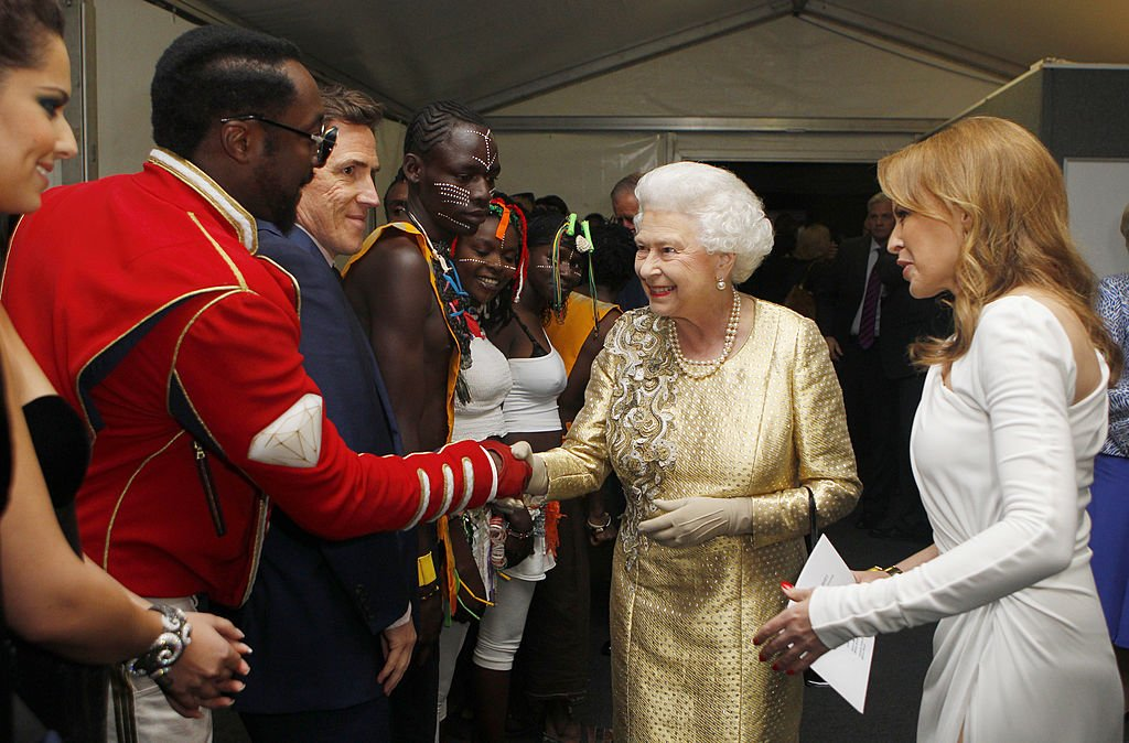 Queen Elizabeth II is introduced to Will.I.Am backstage after the Diamond Jubilee, in London, 2014.   Source: Getty Images