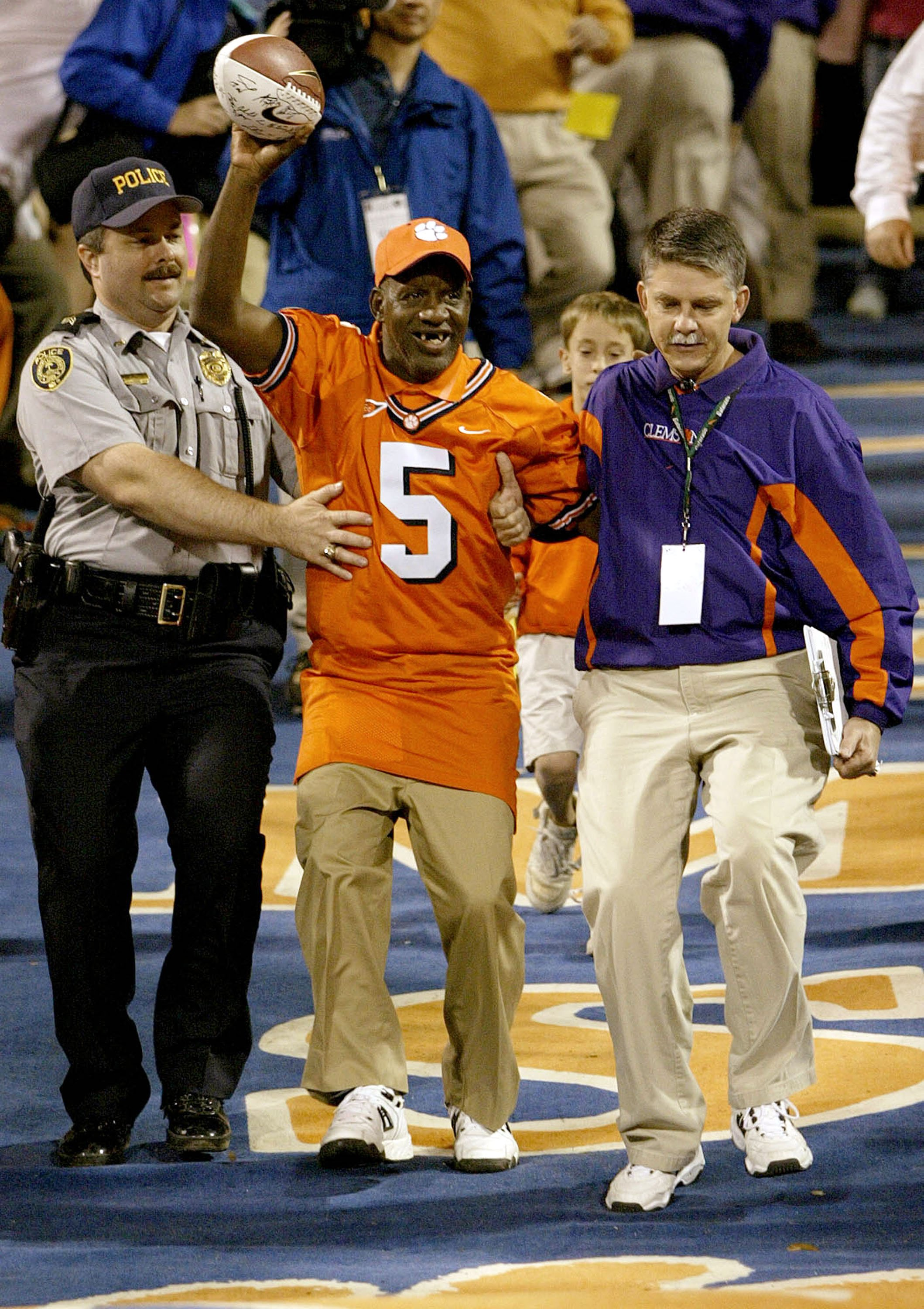 """James Robert """"Radio"""" Kennedy entering the stadium before the start of the game between the Florida State Seminoles and the Clemson Tigers at Memorial Stadium in Clemson, South Carolina 