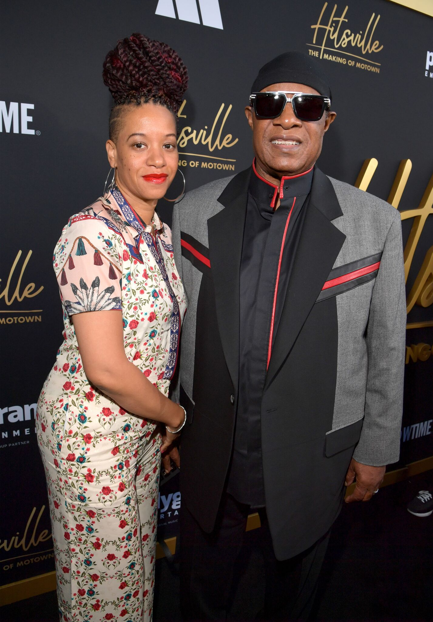 "Tomeeka Robyn Bracy and Stevie Wonder attend the World Premiere and After Party of Showtime's ""HITSVILLE: The MAKING OF MOTOWN"" at Harmony Gold Theatre 
