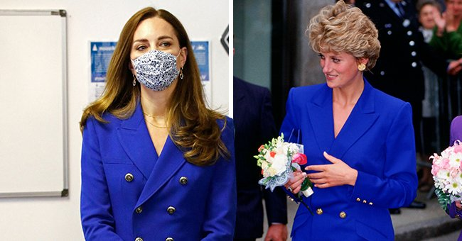 Kate Middleton Channels Princess Diana in a Cobalt Blue Ensemble Paired with a Suede Clutch and Pumps