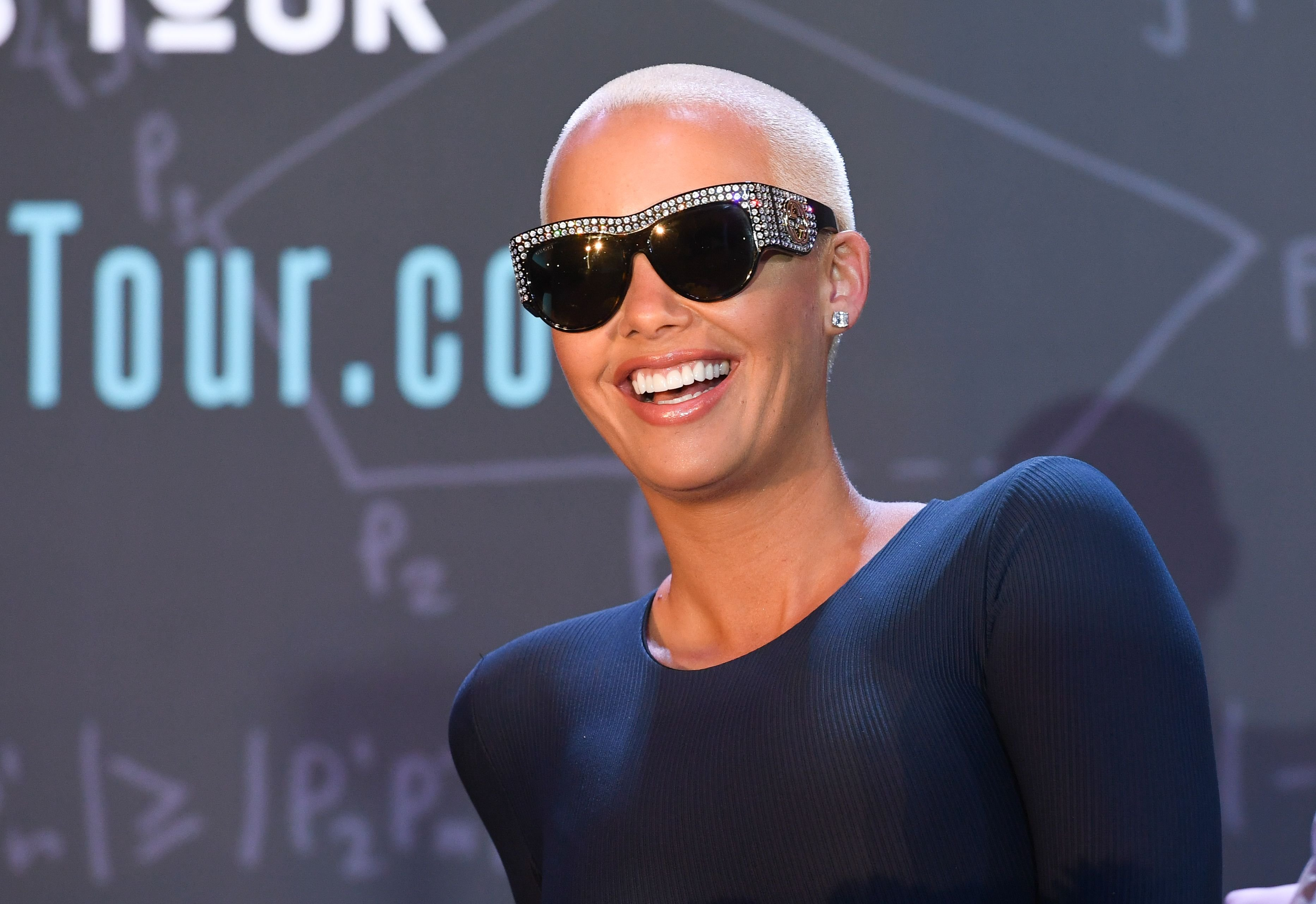 "Amber Rose onstage at ""AHF Presents The Know Your Status Tour -Atlanta"" at Clark Atlanta Univeristy on April 20, 2017 in Atlanta, Georgia. 