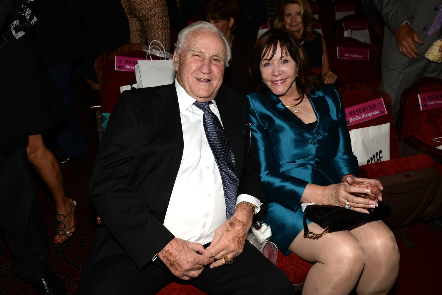 """Don Shula and Mary Anne Stephens attend """"An Unbreakable Bond"""" premiere during the Miami International Film Festival on March 11, 2014 in Miami, Florida 
