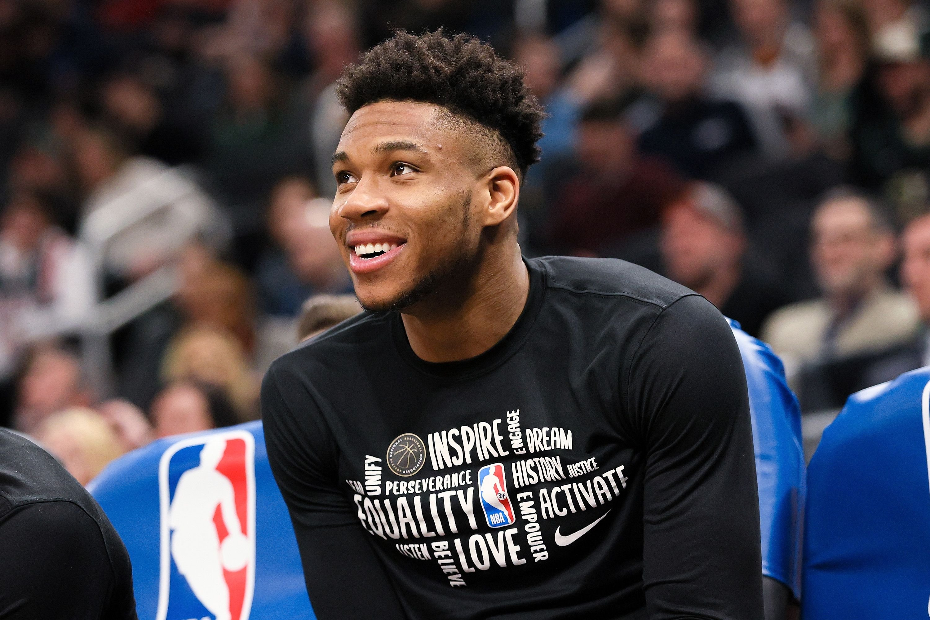 Giannis Antetokounmpo, #34 of the Milwaukee Bucks looks on from the bench in the fourth quarter against the Oklahoma City Thunder at the Fiserv Forum on February 28, 2020 in Milwaukee, Wisconsin   Photo: Getty Images