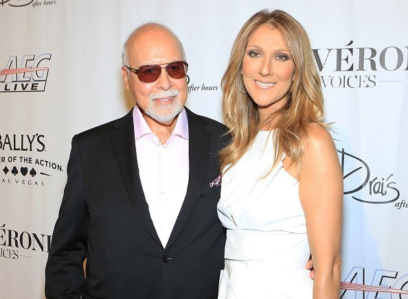 "Rene Angelil (L) and singer Celine Dion arrive at the premiere of the show ""Veronic Voices"" at Bally's Las Vegas on June 28, 2013 in Las Vegas, Nevada 