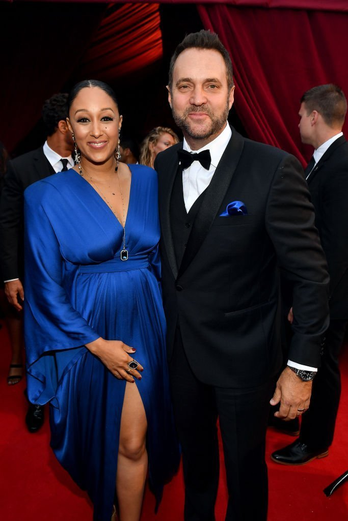 Tamera Mowry-Housley and Adam Housley attend Tyler Perry Studios grand opening gala at Tyler Perry Studios | Photo: Getty Images