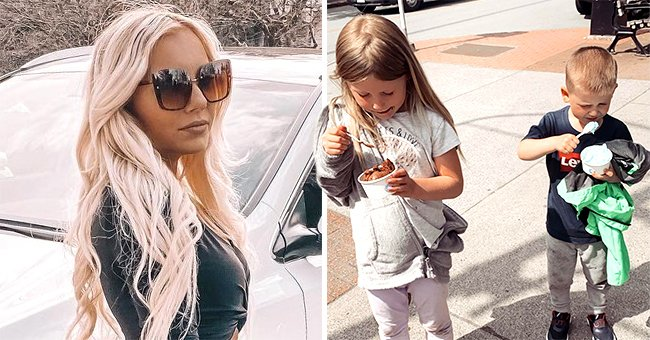A picture of Caitlin Fladager on the left and a picture of her children eating ice cream on the right. │Source: facebook.com/caitlin.fladager  instagram.com/caitlinfladager