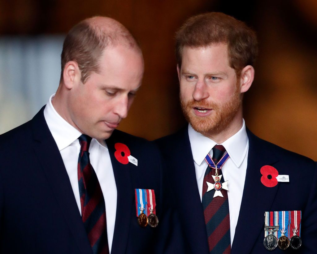 Prince William and Prince Harry at an Anzac Day Service of Commemoration and Thanksgiving at Westminster Abbey on April 25, 2018, in London, England   Photo: Max Mumby/Indigo/Getty Images