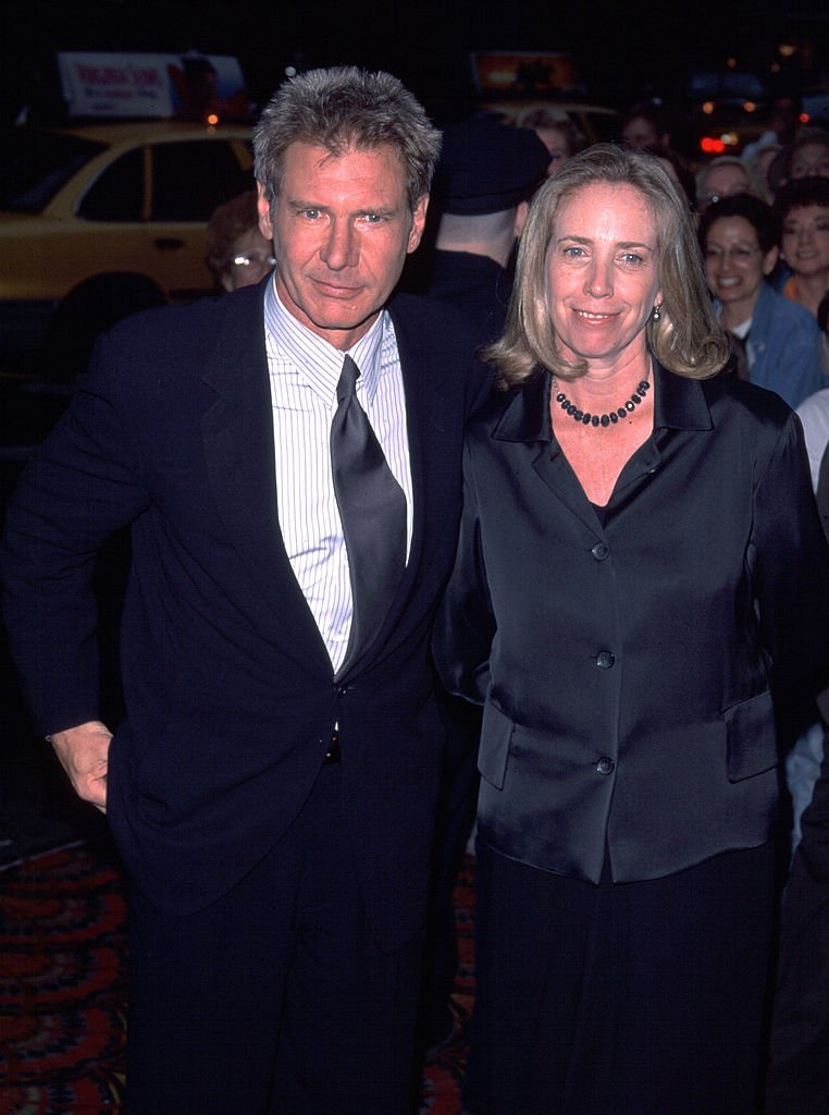 "Actor Harrison Ford and his wife Melissa Mathison attend a benefit screening of ""Six Days and Seven Nights"" June 11, 1998 in New York City. 