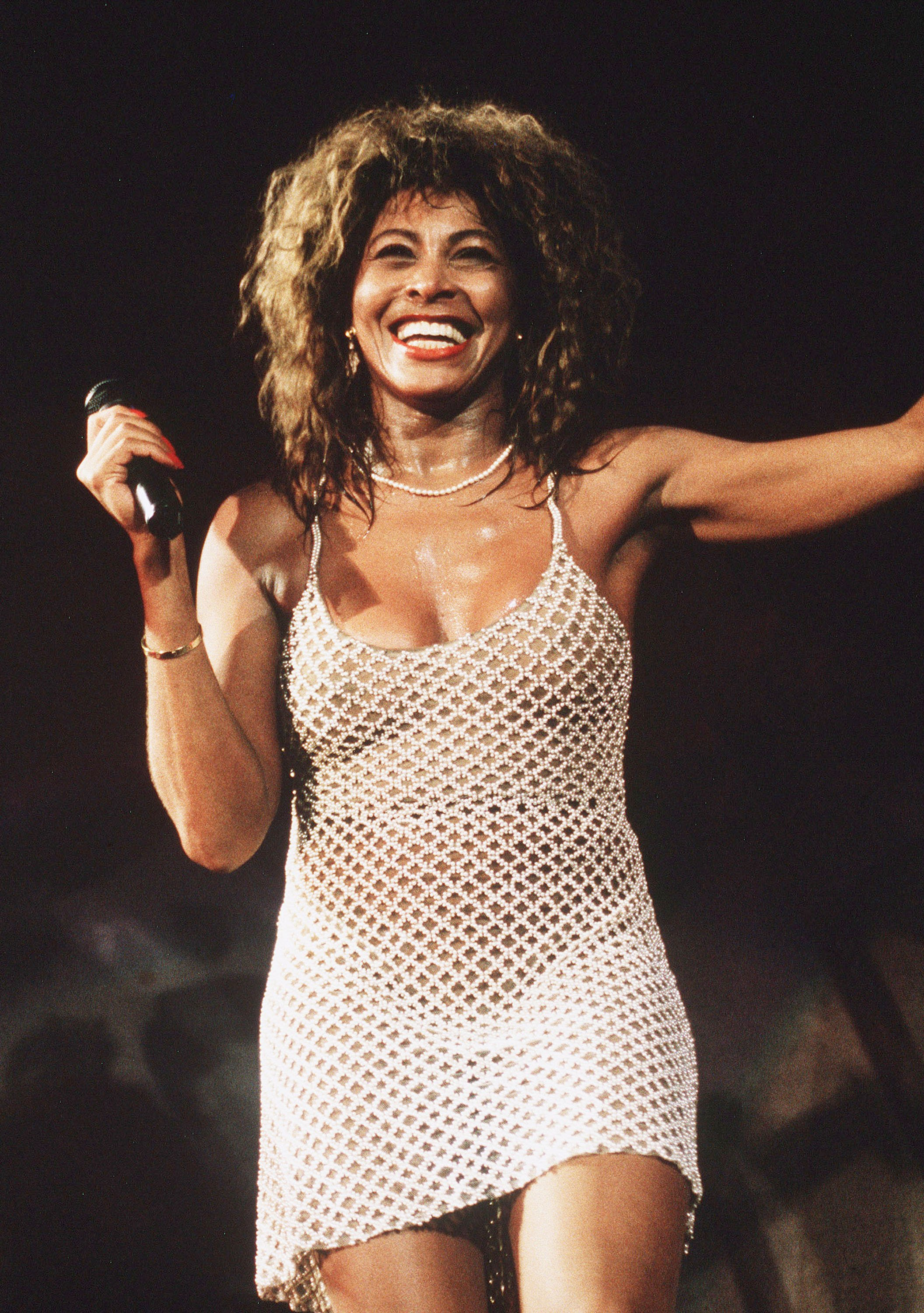Singer Tina Turner performs live on stage at Wembley Stadium, in 1990. | Source: Getty Images