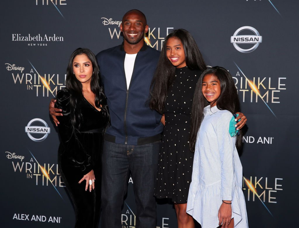"Kobe Bryant and his wife Vanessa Bryant and their daughters Natalia Bryant and Gianna Bryant arrive at the premiere for ""A Wrinkle In Time"" on February 26, 2018, in Los Angeles, California 
