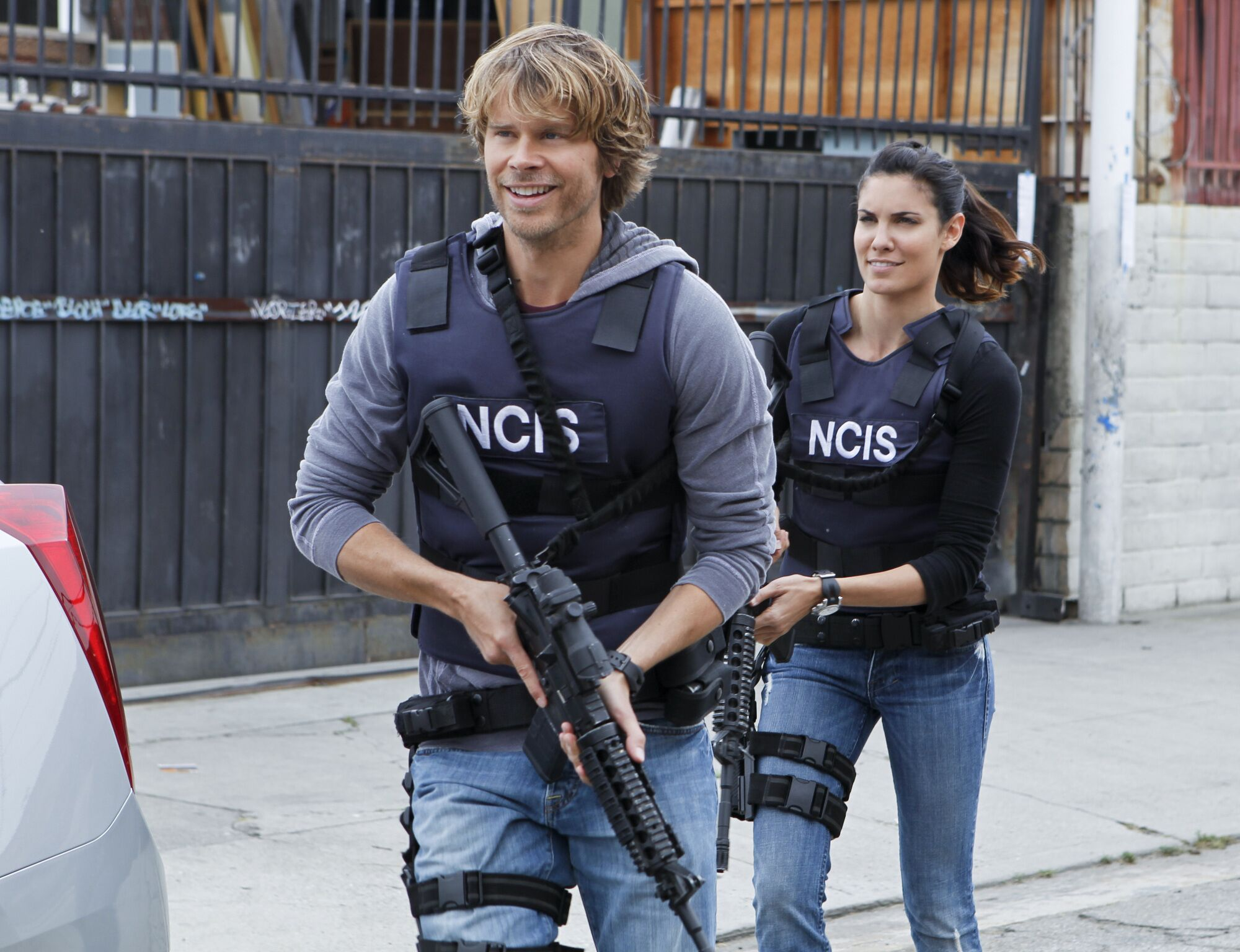 "Eric Christian Olsen and Daniela Ruah on the set of ""NCIS: Los Angeles,"" October 22. 