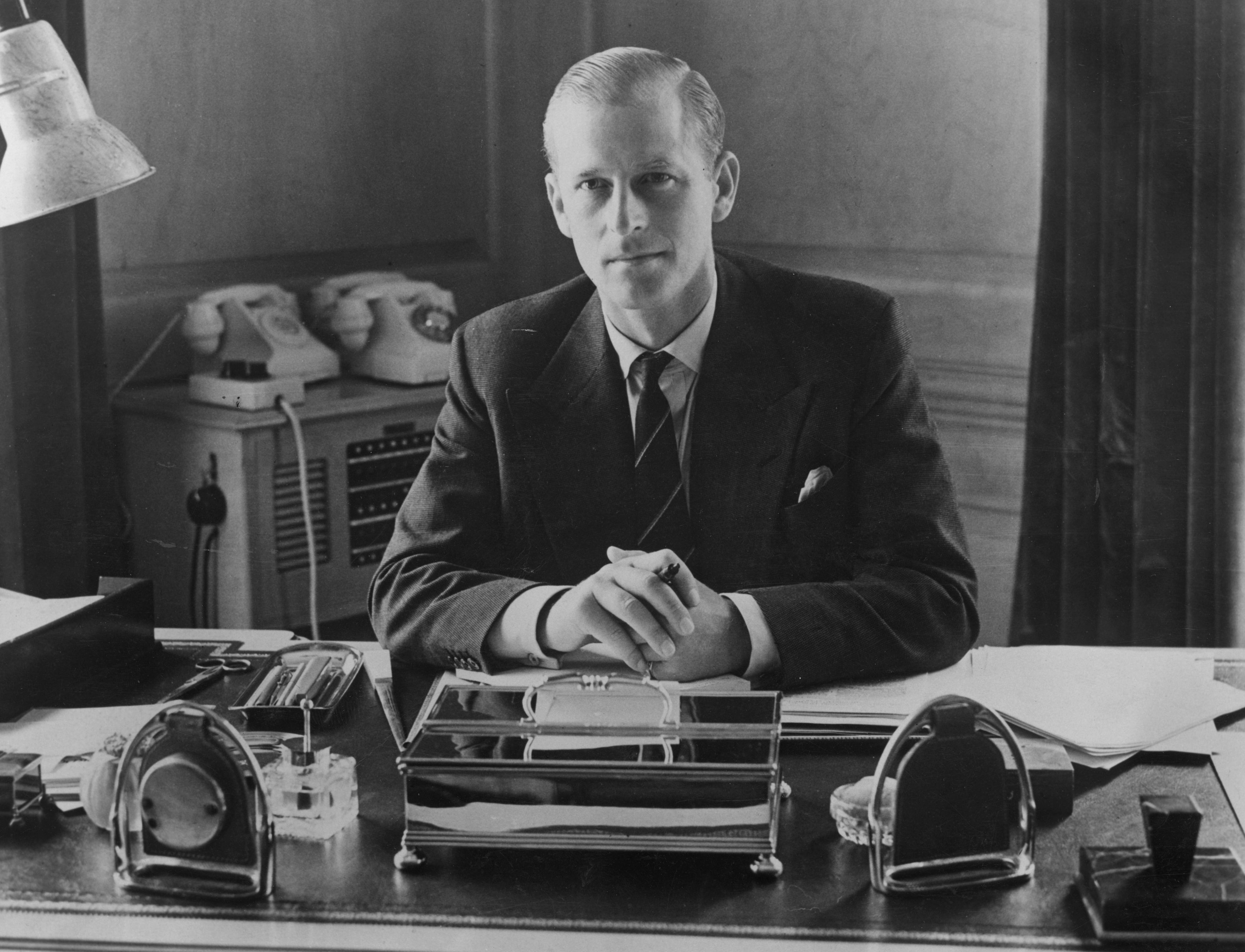 Prince Philip pictured at his desk at Clarence House, 1951, England.   Photo: Getty Images