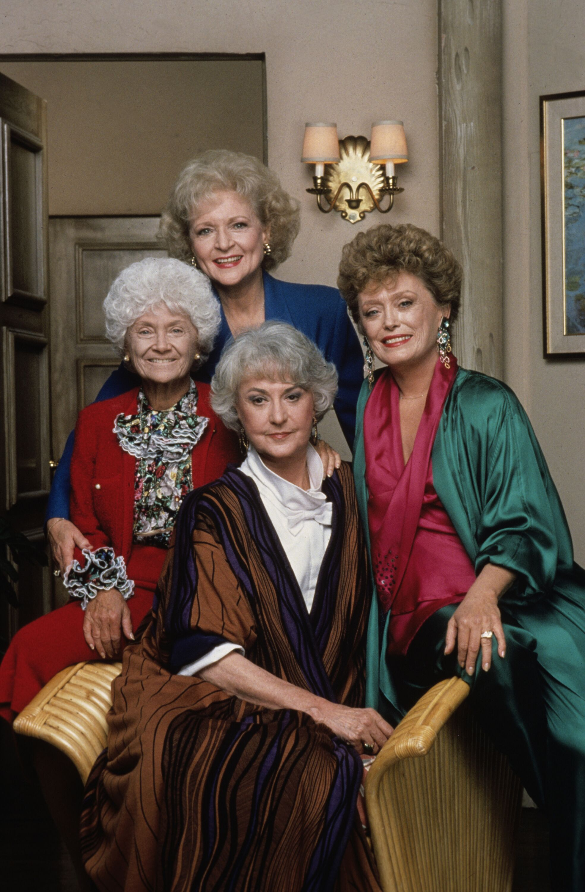 THE GOLDEN GIRLS - 9/14/85 - 9/14/92, Top: BETTY WHITE (Rose); ESTELLE GETTY (Sophia), RUE MCCLANAHAN (Blanche); BEA ARTHUR (Dorothy) | Photo: Getty Images