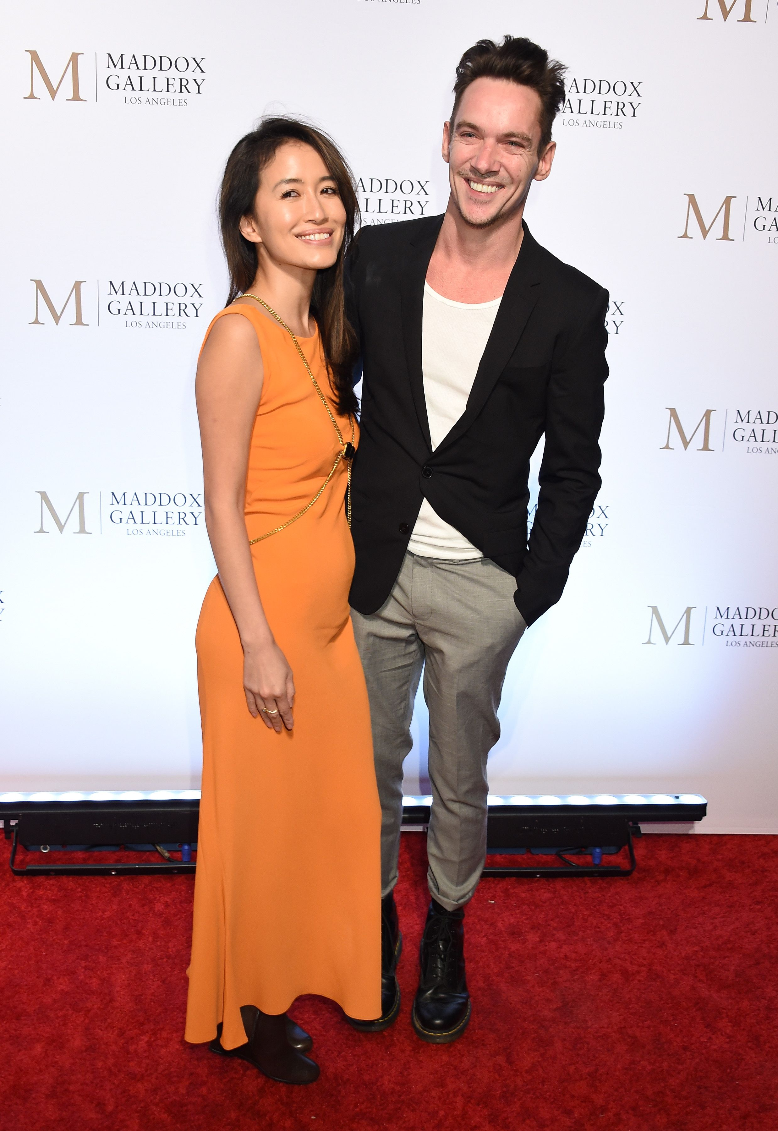"""Jonathan Rhys Meyers and wife Mara Lane at the VIP Opening of Maddox Gallery Exhibition """"Best Of British"""" in 2018 in Los Angeles 