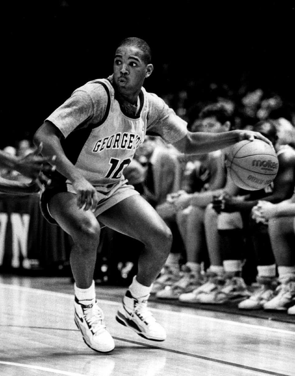 David Edwards #10 of the Georgetown Hoyas circa 1989. | Source: Getty Images