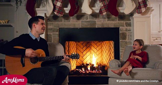 Vater-Tochter-Duo singt einen Weihnachtsklassiker, aber als die Mutter anfängt, mitzusingen, wird es einfach zauberhaft