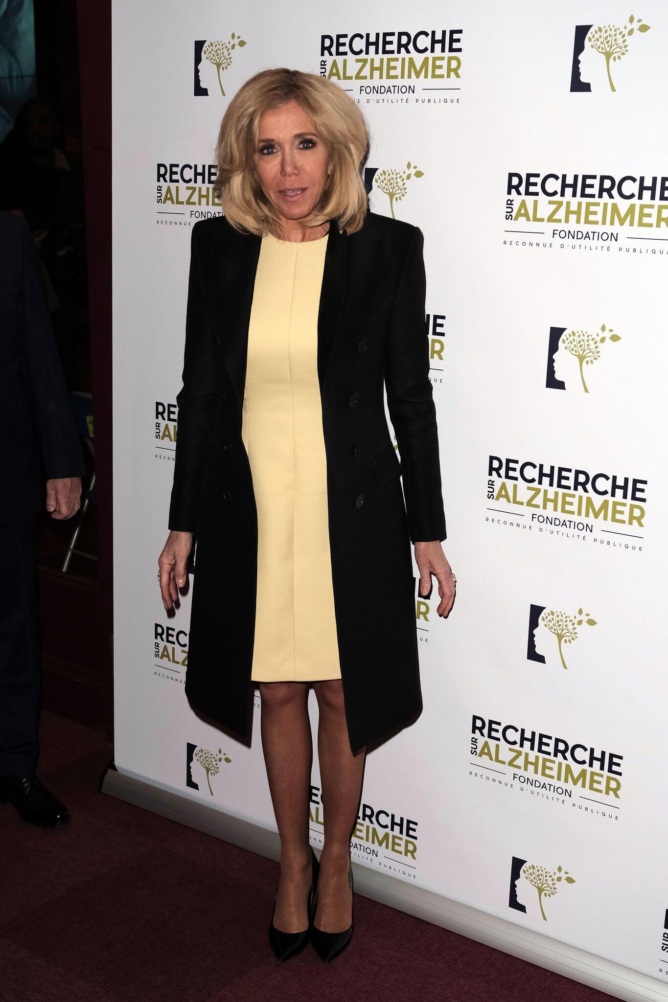 Brigitte Macron lors de sa sortie à l'Olympia. l Source: Getty Images