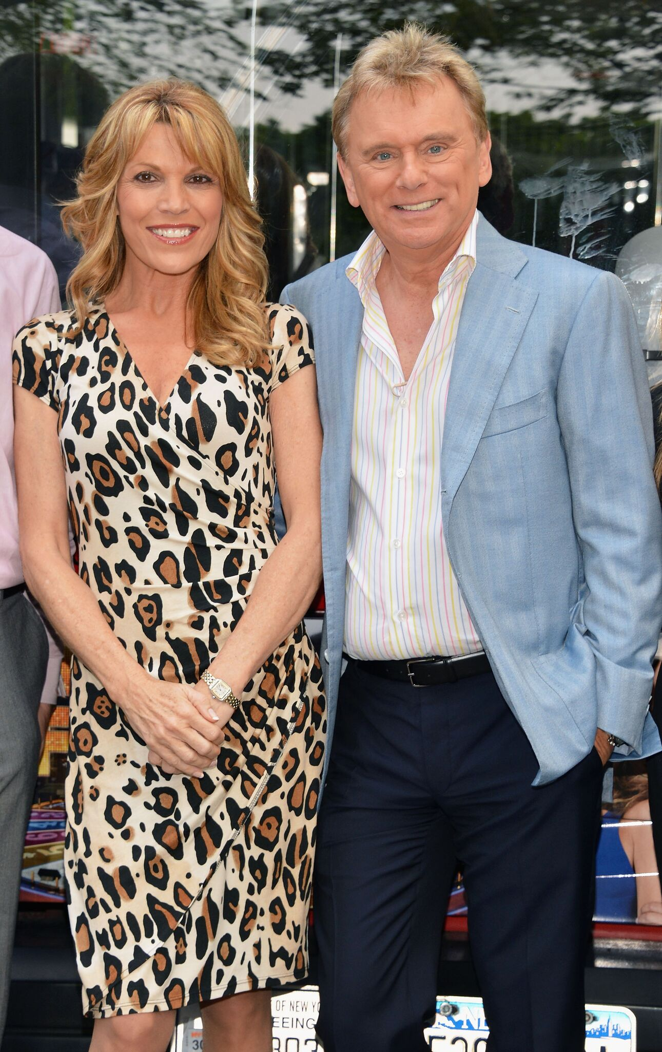 The hosts of Wheel of Fortune Vanna White (L) and Pat Sajak are honored by Gray Line New York's Ride Of Fame Campaign in Central Park l Getty Images