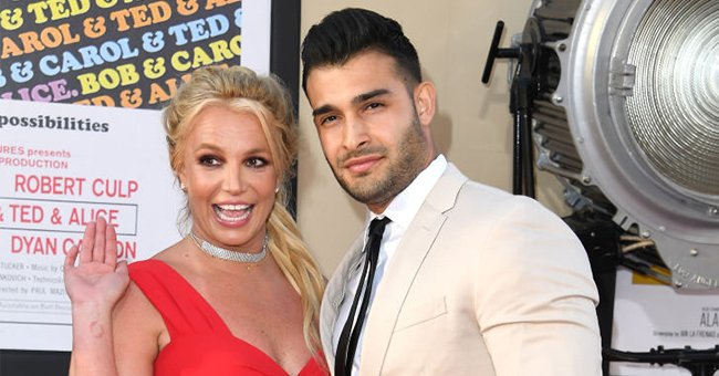 """Britney Spears and Sam Asghari at the Sony Pictures' """"Once Upon A Time...In Hollywood"""" Los Angeles Premiere in Hollywood, California   Photo: Steve Granitz/WireImage via Getty Images"""
