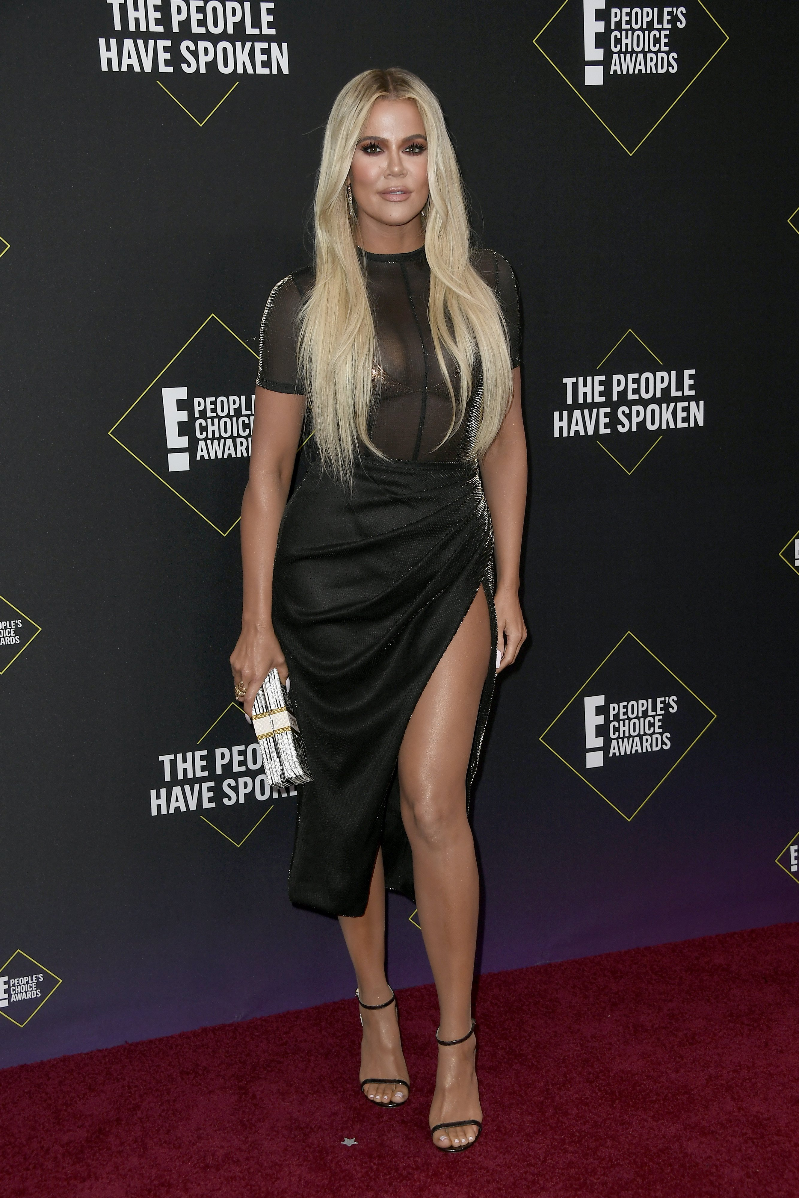 Khloé Kardashian pictured at the 2019 E! People's Choice Awards at Barker Hangar, California in 2019. | Photo: Getty Images.