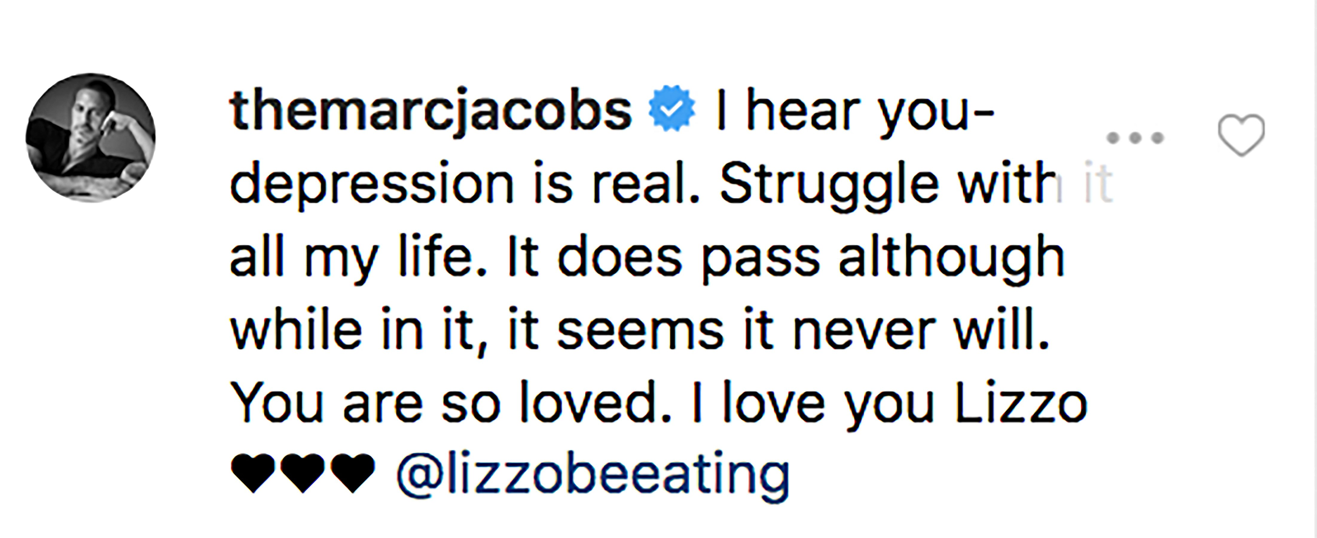 Marc Jacobs comment on Lizzo's post. | Source: Instagram/lizzobeeating