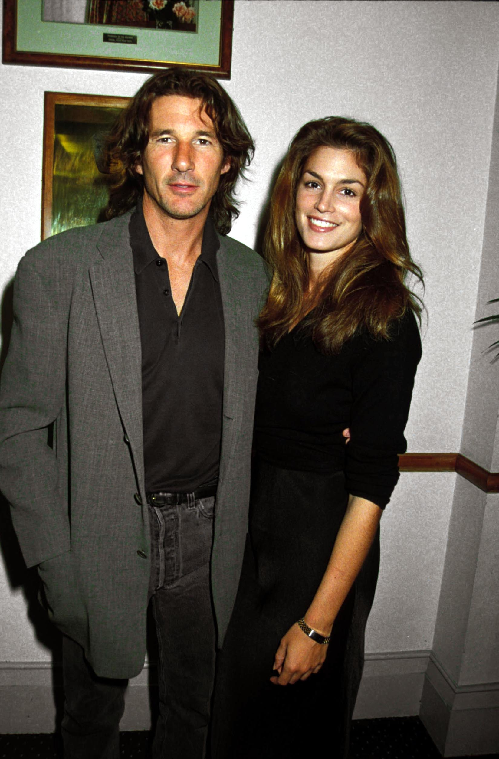 """Cindy Crawford and Richard Gere  attend the """"Mr Jones Premiere"""" circa 1991. 