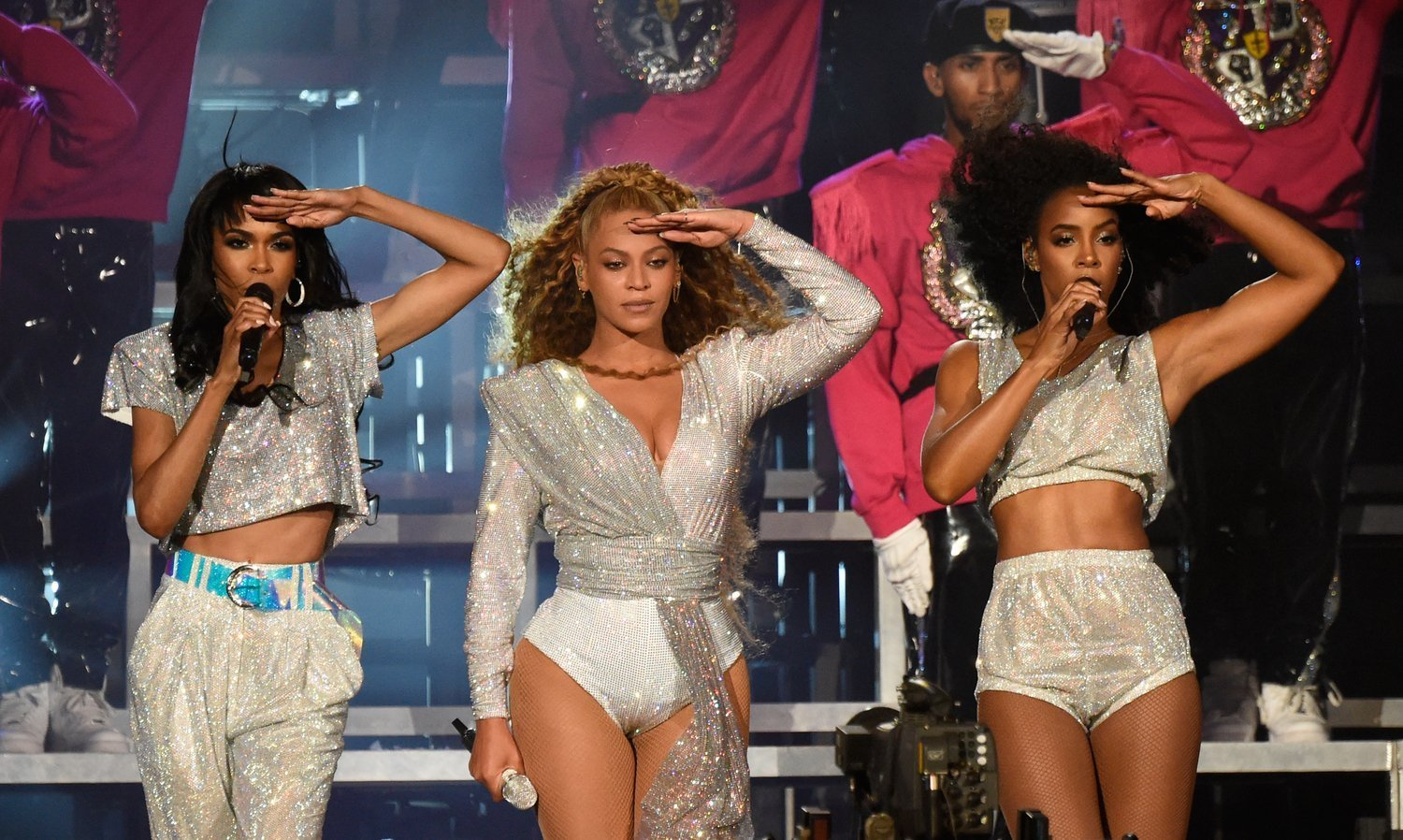 Destiny's Child trio, Michelle Williams, Beyonce Knowles and Kelly Rowland reunite for a performance during Beyonce's 2018 Coachella gig. | Photo: Getty Images
