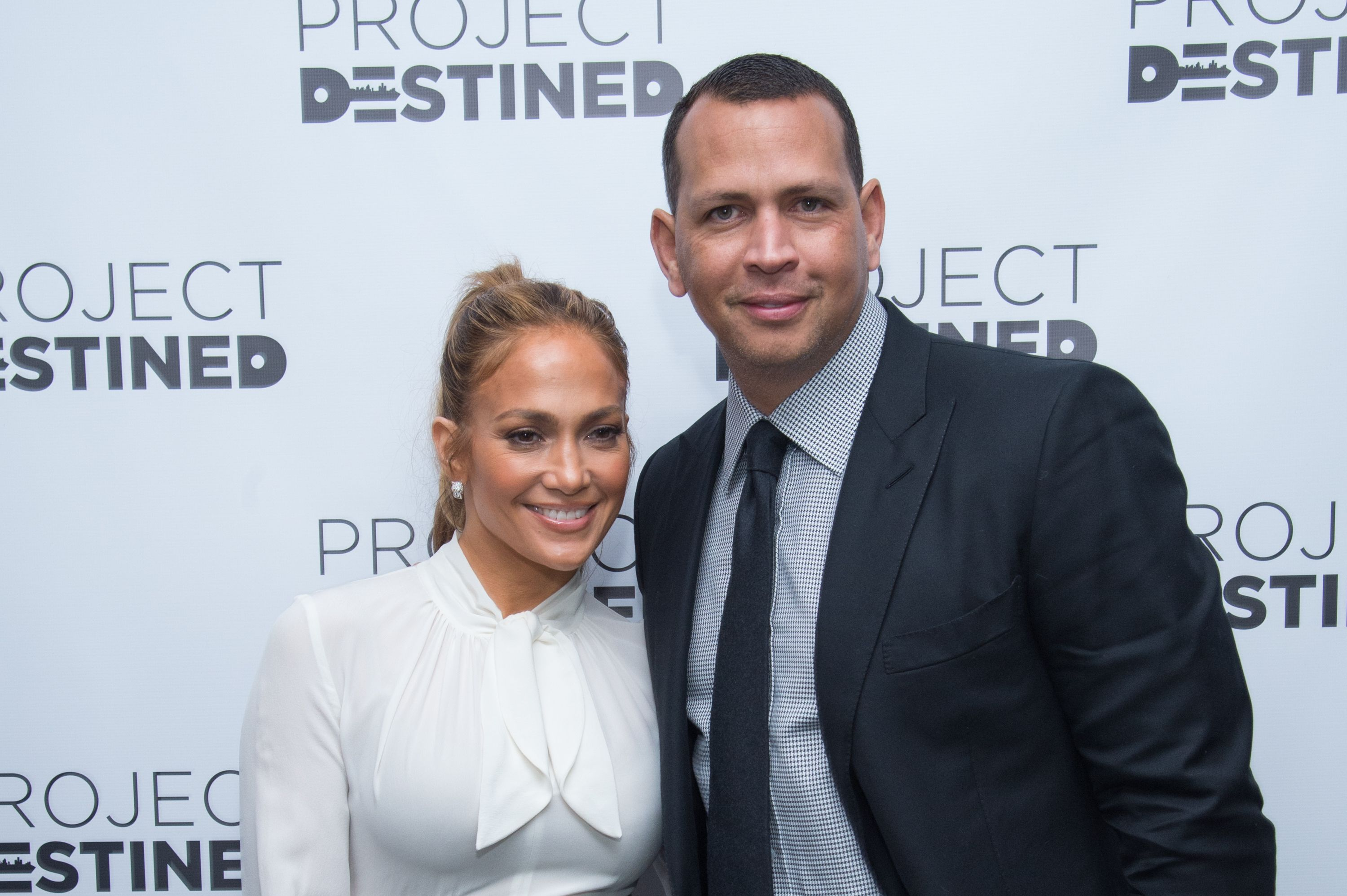 "Jennifer Lopez and Alex Rodriguez at ""Project Destined"" Yankees Shark Tank Presentations at Yankee Stadium on March 4, 2018 in New York City 