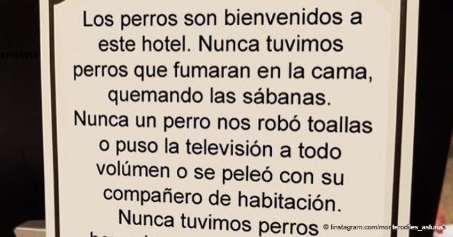 """El ovacionado cartel de un hotel asturiano que permite perros: """"Nunca un perro nos robó toallas"""""""