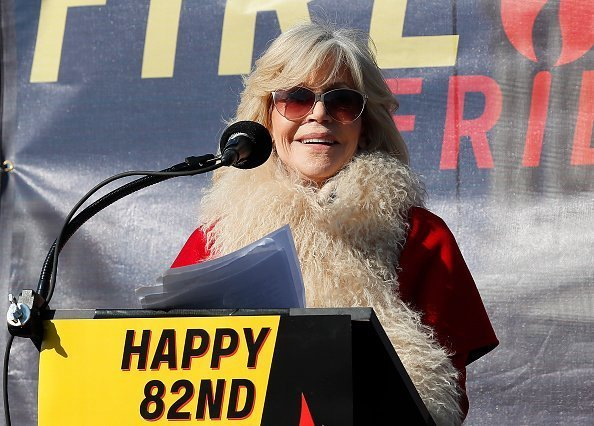 "Jane Fonda is wished a happy birthday during the ""Fire Drill Fridays"" climate change protest on Capital Hill on December 20, 2019 