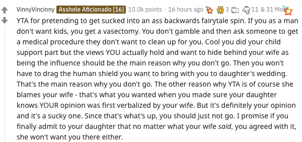 Screenshot of comments from a Reddit post.   Source: Reddit.com/AmITheAsshole