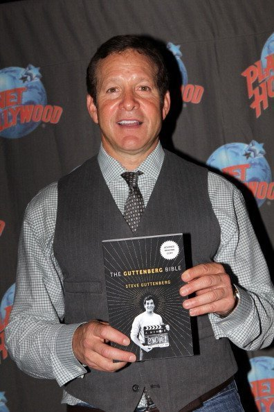 "Steve Guttenberg poses as he promotes his new book ""The Gutenberg Bible"" on May 9, 2012 