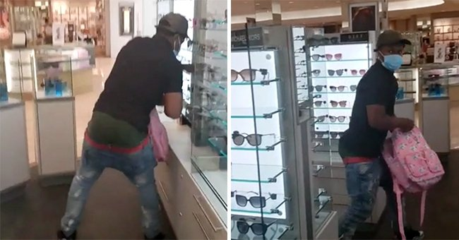 Serial Sunglass Thief Pretends Nobody Sees Him Robbing the Store