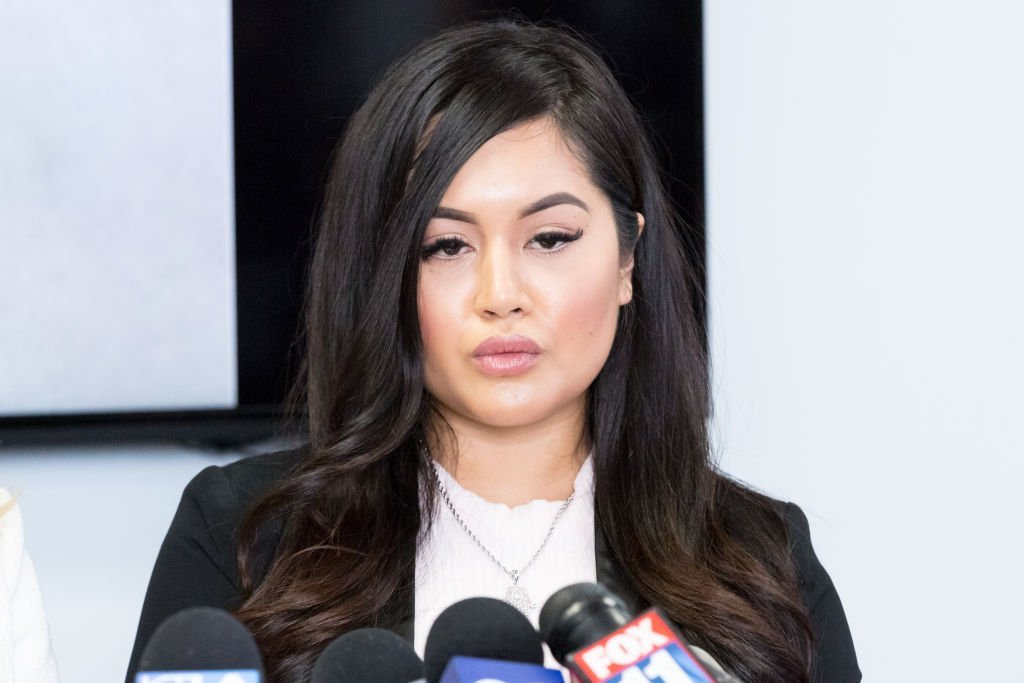 Andrea Buera, who is accusing Trey Songz of assaulting her, speaks during a press conference with her attorney Lisa Bloom at The Bloom Firm | Photo: Getty Images