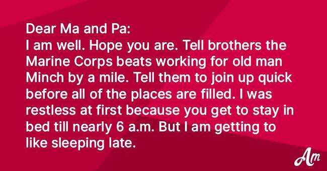Kid writes home after joining the marines and it goes viral