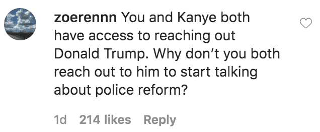 A Fan commented on Kim Kardashian's statement on the nationwide protests triggered by the death of George Floyd to police brutality | Source: Intsagram.com/kimkardashian