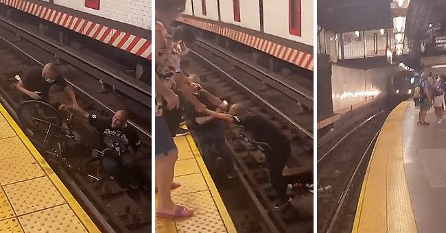 Man in Wheelchair Falls onto the Tracks, Stranger Rushes to Help Just before Train Approaches